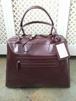 £48 • Buy M&S Ladies Patent Leather Weekend / Overnight Tote Bag Holdall Mulberry Used