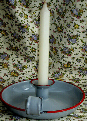 £18 • Buy Chamberstick Holder Vintage Enamel Candlestick Saucer Grey Red + White Candle