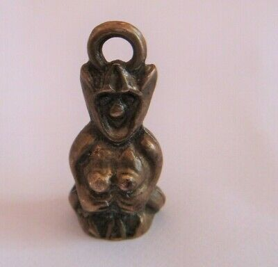 £18 • Buy Vintage LUCKY PIXIE Solid Brass  Charm Cornish Pixie Pendant/ Fob 30 Mm Tall