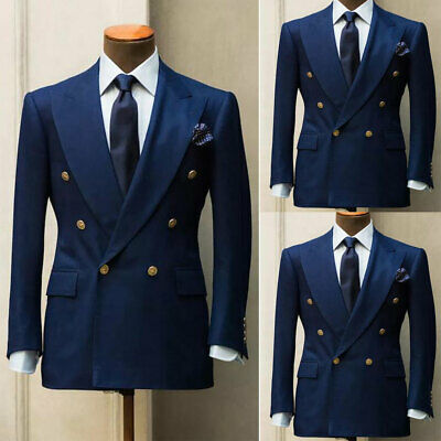 $92.99 • Buy Blue Men's Suits Formal Slim Wedding Blazer Double-breasted Prom Dinner Tuxedos
