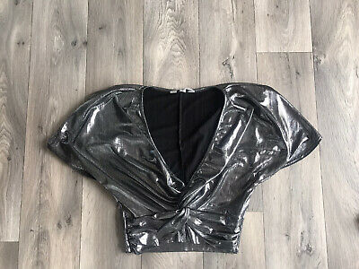 £1.50 • Buy Ladies Shiny Silver Short Sleeve Criss Over Top Size 8 From Muss Selfridge