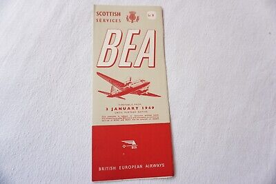 £24.99 • Buy 1949 BEA Scottish Services Airline Timetable Schedule VGC