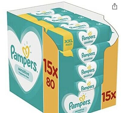 £25.50 • Buy Pampers Sensitive Baby Wipes, 1200 Count (15 X 80),