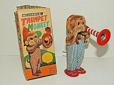 £43.10 • Buy Vintage Mechanical  Trumpet Monkey  ALPS Japan Made, Wind Up Toy In Box