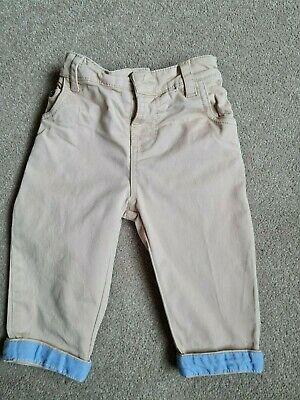 £1 • Buy John Lewis Stone Coloured Chinos With Blue Turn Up Baby Boy 3-6 Months
