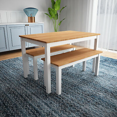£32.11 • Buy Solid Pine Wooden Dining 1 Table Set 1 Bench Home Kitchen Dining Room Furniture