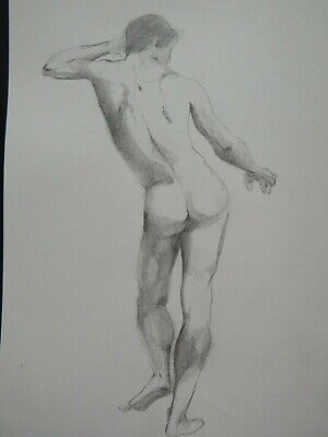 £19.99 • Buy Original Pencil Academic Drawing Standing Male Nude After John James Masquerier