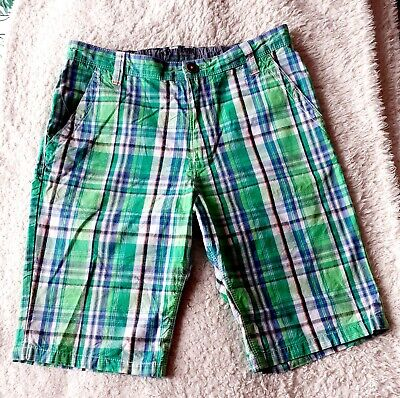 £1.10 • Buy  NEXT  BOYS/YOUTHS GREEN/BLUE CHECK LONG SHORTS. SIZE : AGE 15yrs. USED.