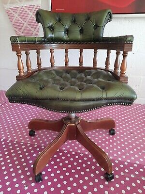 £275 • Buy Green Leather Chesterfield Style Captains Chair