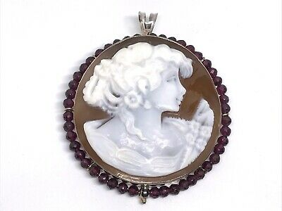 $199.99 • Buy New M+M Scognamiglio Italian Carved Cameo Sterling Pendant Pin With Garnet Halo