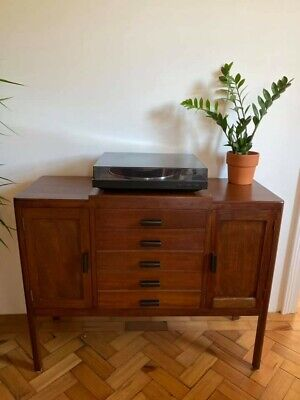 £300 • Buy Mid Century Solid Teak Record Cabinet With Lots Of Record Storage Capacity