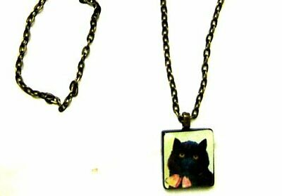 £2.83 • Buy Black Cat Wearing A Bow Hand Crafted Altered Art Scrabble Tile Pendant Necklace