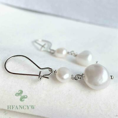 $4.99 • Buy 11-12mm Natural Baroque Freshwater Pearl Earrings Fashion Pendant Party Light