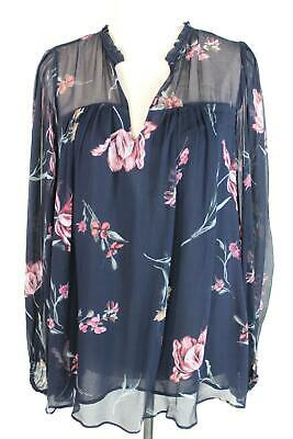 AU29.95 • Buy Witchery Navy Blue Floral Silky Blouse - AS NEW - 8
