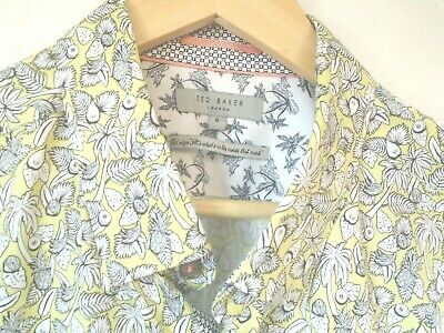 £3.99 • Buy Ted Baker Yellow & Black Tropical Fruit Print S/sleeve Shirt 42 -44 Chest