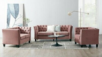£429.99 • Buy Velvet Fabric Rose Sofa Couch 2 Or 3 Seater Armchair Studded Button Suite Set