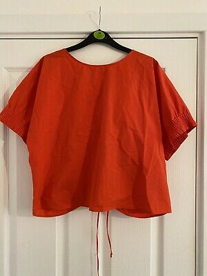 AU7.38 • Buy Zara Red Cotton Top With Elasticated Sleeves And Ruched Tie Back Size M