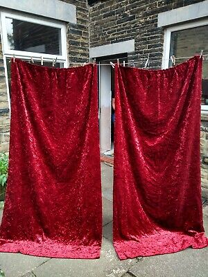 £29.99 • Buy Vtg Red Crushed Velvet Heavy Pair Curtains Circa 60s 70s Extra Long Retro Thick