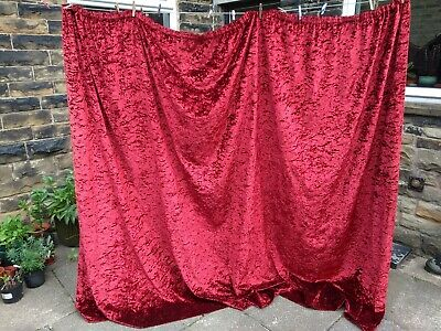 £29.99 • Buy Vtg Red Crushed Velvet Heavy Single Curtain Circa 60s 70s Extra Long Retro Thick