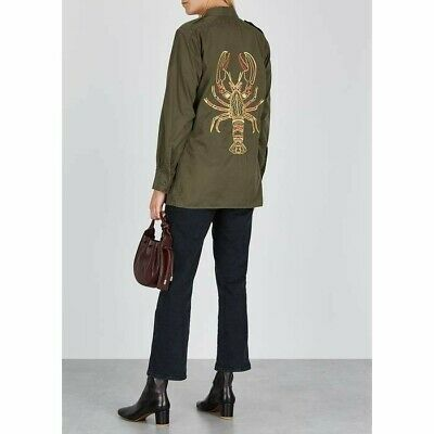 £60 • Buy A30. Ragyard Army Green Lobster Embroidered Cotton Shirt Size M/L