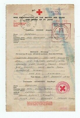 £29.99 • Buy Guernsey,  German  Occupation Red Cross Message With Good Okw Censor Eagle