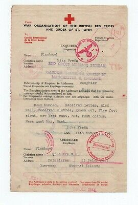 £14.99 • Buy Guernsey,  German  Occupation Red Cross Message , With Scarce Okw Censor In Red