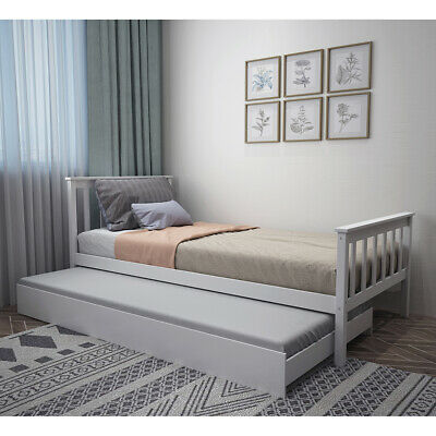 £156.90 • Buy Grey Day Bed Single Bed With Underbed Trundle Sofa Bed Bedroom Guest Room 2 In 1
