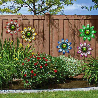 £3.99 • Buy Metal Flower Wall Art Outdoor Fence Hanging Ornament For Garden Home Decoration