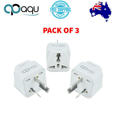 AU10.99 • Buy Universal Travel Adapter Converter Power Wall Plug Charger UK To AU 3pin 3 Pack