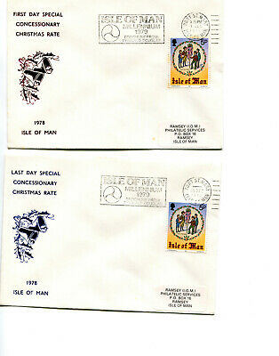 £2.99 • Buy Isle Of Man 1978 1st & Last Day Xmas Post Rates Covers, Port St Mary Cancel