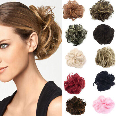 £3.49 • Buy Curly Messy Hair Bun Piece Updo Scrunchie Fake Natural Bobble Hair Extensions ED