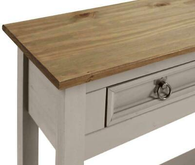 £72.99 • Buy Console Table Grey Wax 2 Drawer Solid Pine Hall By Mercers Furniture