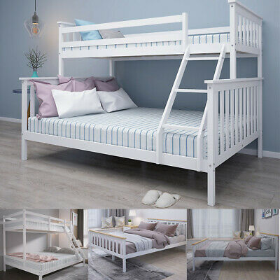£159.95 • Buy Wooden Triple Bunk Beds Double Bed With Stairs For Kids Children Bed Frame UK