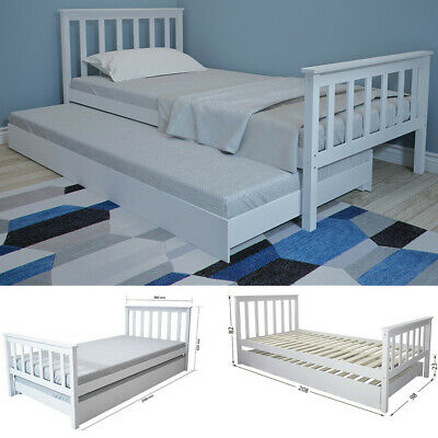 £159.90 • Buy Wooden Day Bed Single Bed Frame With Underbed In White 2 Beds In 1 Guest Bed NEW