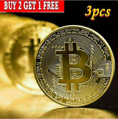 AU12.48 • Buy 3Pcs Gold Bitcoin Commemorative 2021 New Collectors Gold Plated Bit Coin