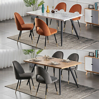 £99.99 • Buy White/Grey/Oak Wooden Dining Table And 4 Velvet Padded Chairs Set Home Kitchen