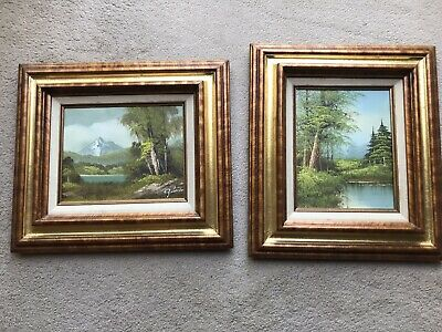 £49.99 • Buy Pair Of Vintage Hand Painted Signed Landscape Paintings