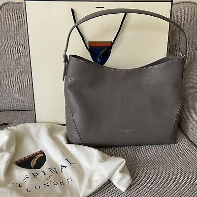 £150 • Buy NEW Aspinal Of London £350 Warm Grey Pebble Soft Leather Shoulder Hobo Bag Tote
