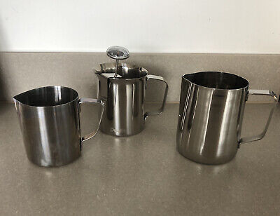 £8 • Buy Stainless Steel Milk Frothing Jug Measure Frother Coffee Latte Small Med & Large