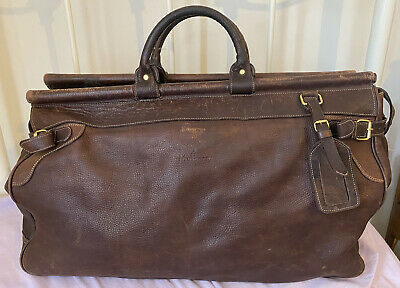 £278 • Buy Vintage Mulberry Hold-all Leather Brown Heavy Travel Bag Shoulder Weekend Check