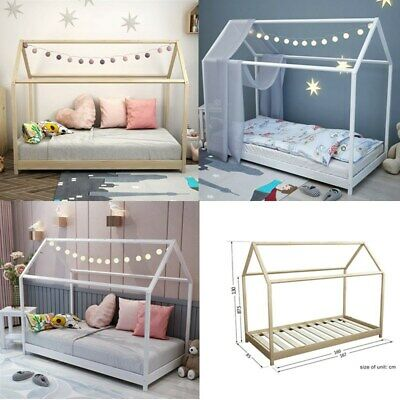 £25.99 • Buy Single Bed Frame 3FT Kids Sleeper Wooden House Low Childs Bed Home Children
