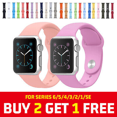 AU8.03 • Buy 38/40/42/44mm Silicone Sport IWatch Band Strap For Apple Watch Series 6 5 4 3 SE