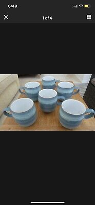 £70 • Buy 6 X Denby Azure Coast Stoneware Coffee Mugs In MINT Condition Barcodes Intact