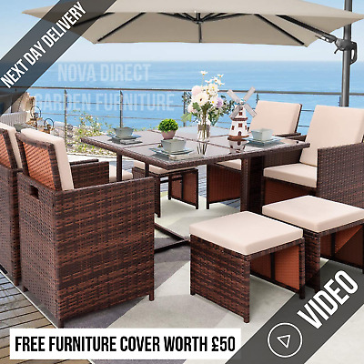 £439 • Buy Rattan 8 Seater Garden Dining Furniture Cube Sofa Set Table Outdoor Patio Brown