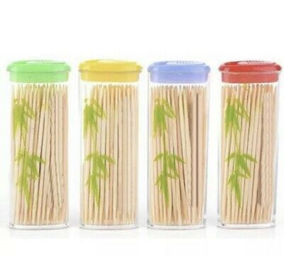 £3 • Buy 4 Pack Wooden Dental Tooth Picks Bamboo Toothpicks Portable Case Oral Hygiene