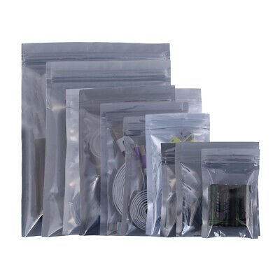 £7.99 • Buy 100x Strong Anti-Static Gripseal Zipper Bags Flat Pouch Transparent Grey