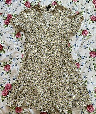 £1.79 • Buy New Look Yellow Ditsy Floral Button Down Front Dress V Neck Size 12