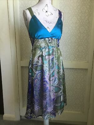 £1.99 • Buy Gorgeous Butterfly Silky Floaty Paisley Peacock Blue Sage Green Summer Dress 10