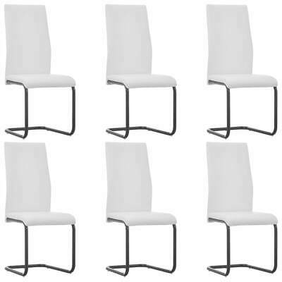 AU316 • Buy Cantilever Dining Chairs 6 Pcs White Faux Leather