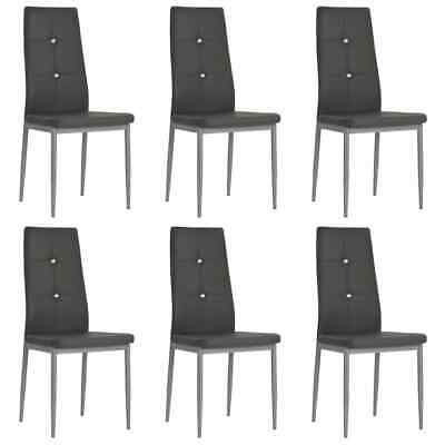 AU206 • Buy Dining Chairs 6 Pcs Grey Faux Leather